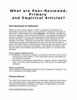 What are Peer-Reviewed, Primary  and Empirical Articles?