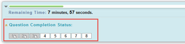 Showing test question numbers