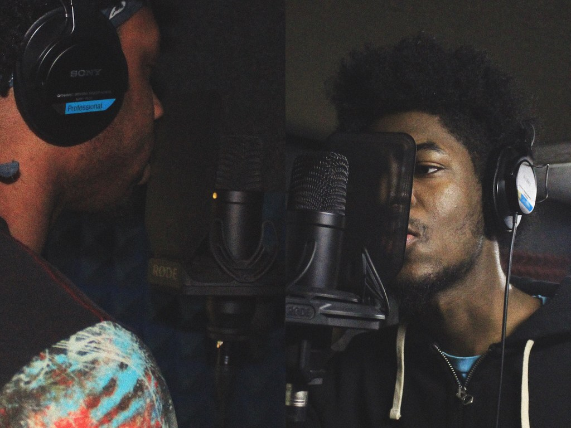 Cardinal Studios student club members recording in LL02.