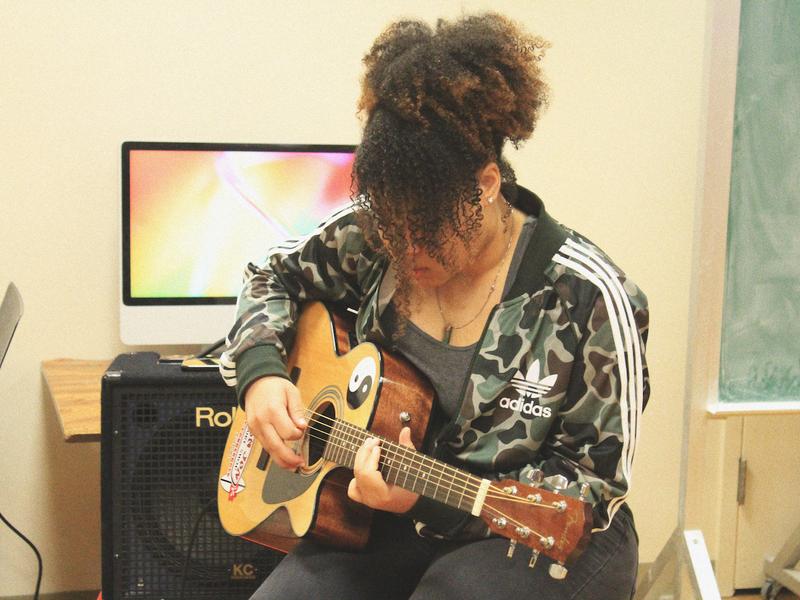 Cardinal Studios student club members making music at York College.