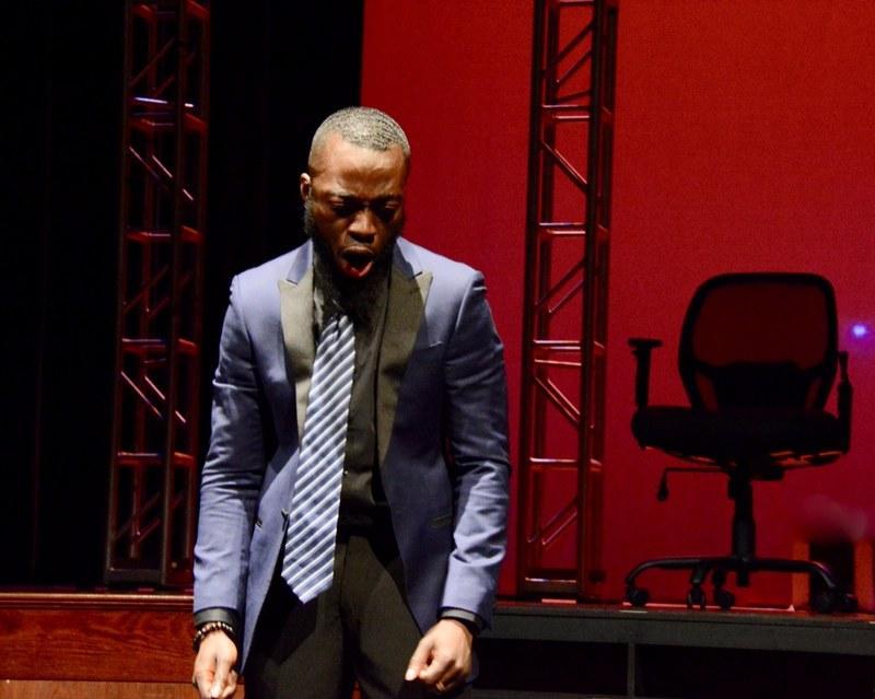 Marc Antony mourns Caesar in YC Theatre's production of Shakespeare's Julius Caesar