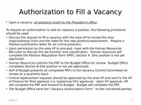 Authorization to Fill a Vacancy