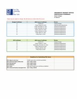 FY2015 Certificate Schedule for Senior Colleges