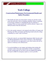 York College Construction Maintenance Environmental Health and Safety Procedure 2008