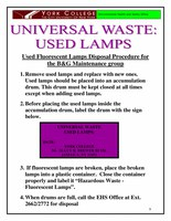 Used Fluorescent Lamps Disposal Procedure