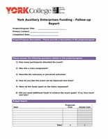 York Auxiliary Enterprises Funding - Follow-up Report