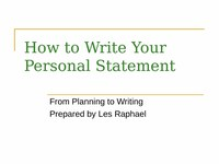 How to Write Your Personal Statement/Essay