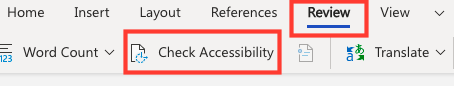 click review, then Check Accessibility to check accessibility of a Microsoft Office application.
