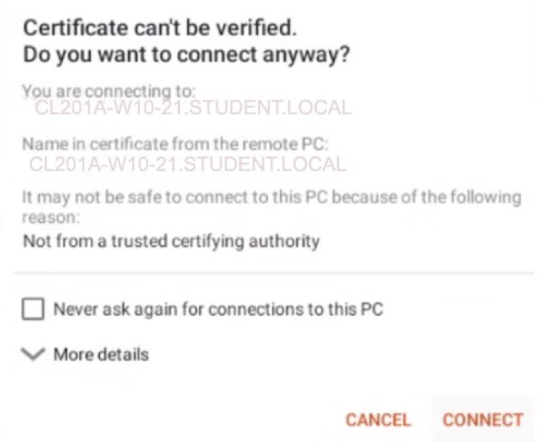 certificate cannot be verified message