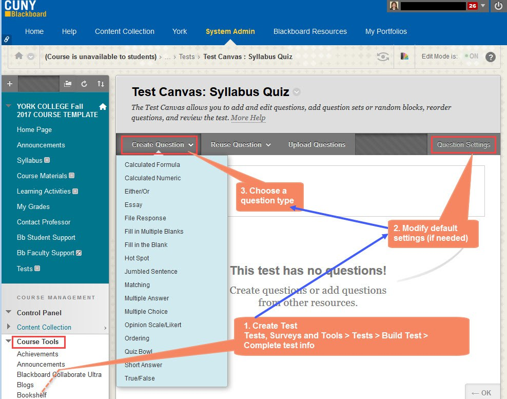 Steps to create a quiz. The text in the orange rectangle shapes indicates the actions you can take.