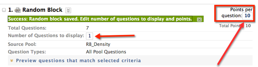 Click Number of Questions to display