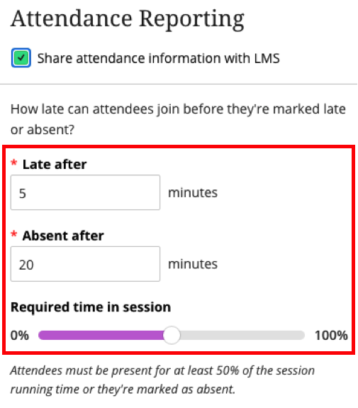 Attendance reporing options in BCU session settings