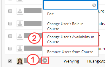 Change User's Availability in Course button
