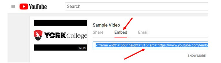 Image about clicking the Embed button (Embedding Unlisted Video on YouTube in your Bb Course)