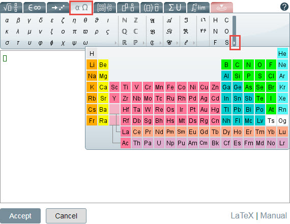 Periodic table embedded in the math editor