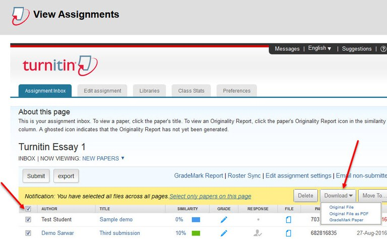 A screenshot on how to bulk download Turnitin assignments