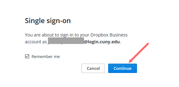 Dropbox single sign-on image. Click the Continue button to sign-on