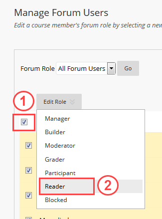 Manage Forum Users page