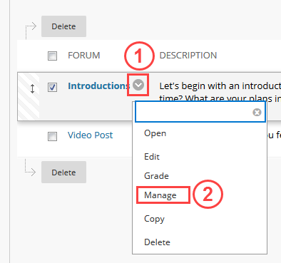 Manage in Discussion Board forum
