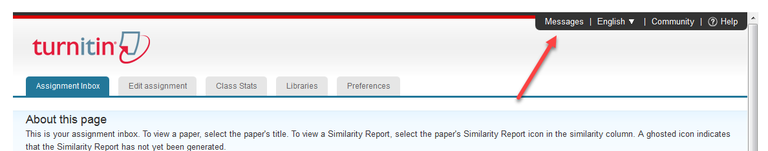 Click Messages in Turnitin Assignment Page