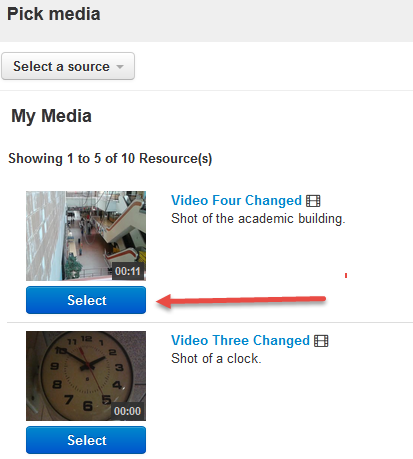 Select video in My Media page