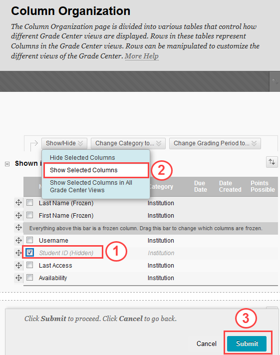 Show Selected Columns