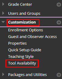 Accessing Tool Availability panel