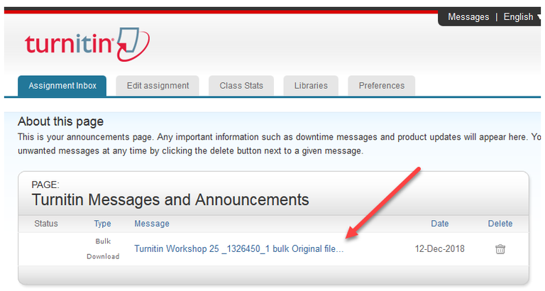Turnitin Messages and Announcements