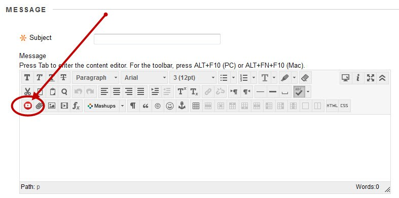Click YouTube Everywhere icon in the Bb textbox editor