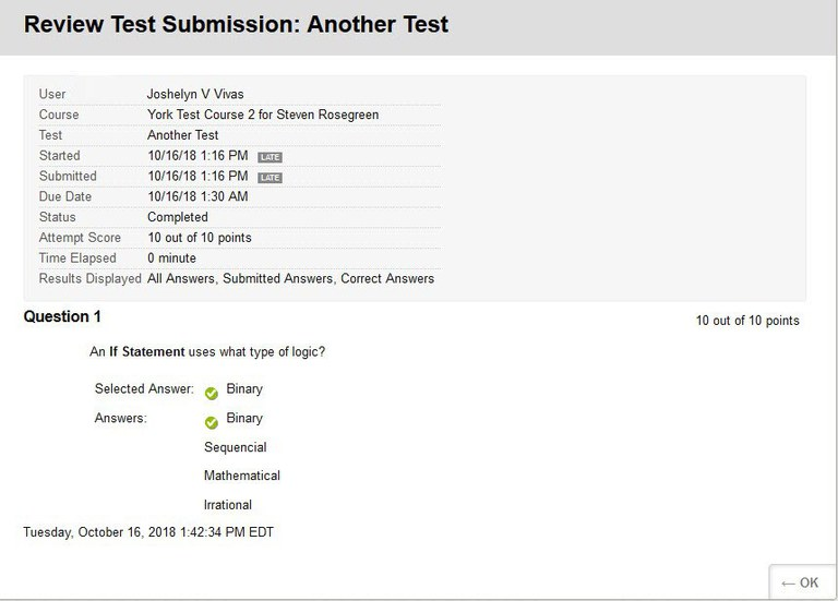 Revision Test Submission in My Grades