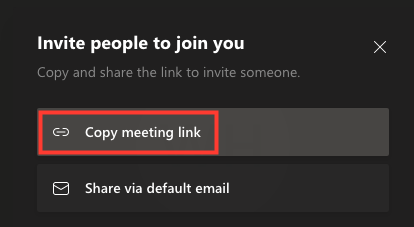 copy the meeting link