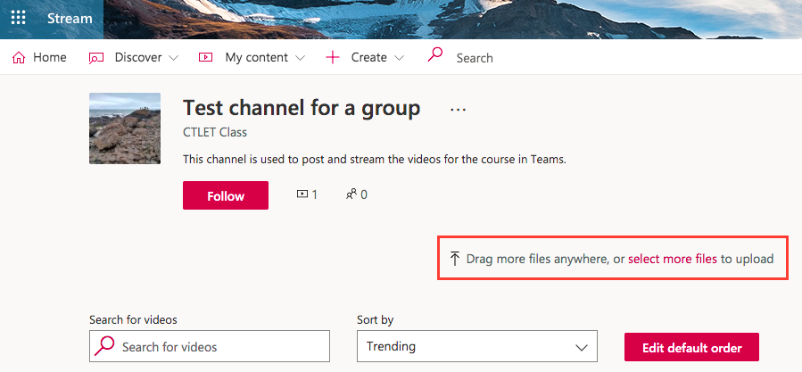 upload video files to the channel
