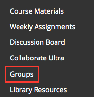 access Groups link on the course menu