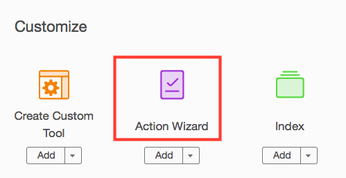 click Action Wizard on Tools panel
