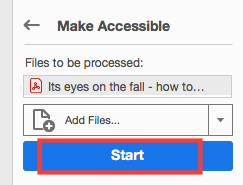 start to check accessibility