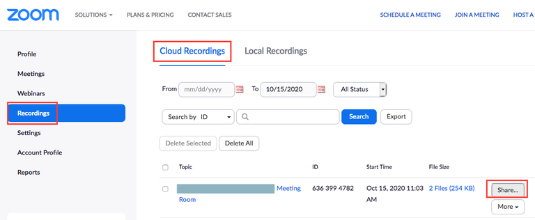 Zoom cloud recording page