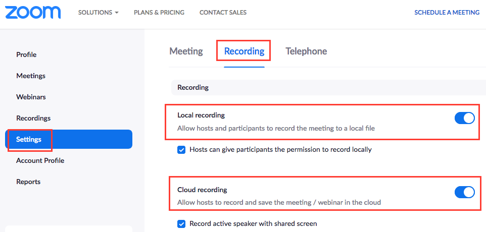 enable local and cloud recording