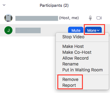 Remove or report a participant in a Zoom meeting
