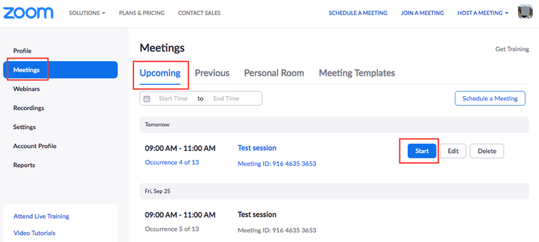 Start a Zoom meeting from a browser