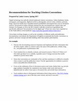 Recommendations for Teaching Citation