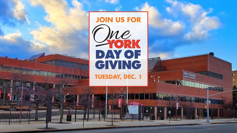 December 1 will be CUNY Day of Giving (Giving Tuesday) and once again, York College will be participating in this important event as a way of raising much-needed funds for our institution.