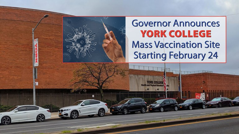COVID-19 Vaccination Site to Open at York College, Opening February 24, 2021
