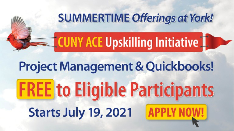 CUNY ACE Upskilling Initiative Summertime Offerings at York Free to Eligible Participants New Starts July 19, Apply Now!