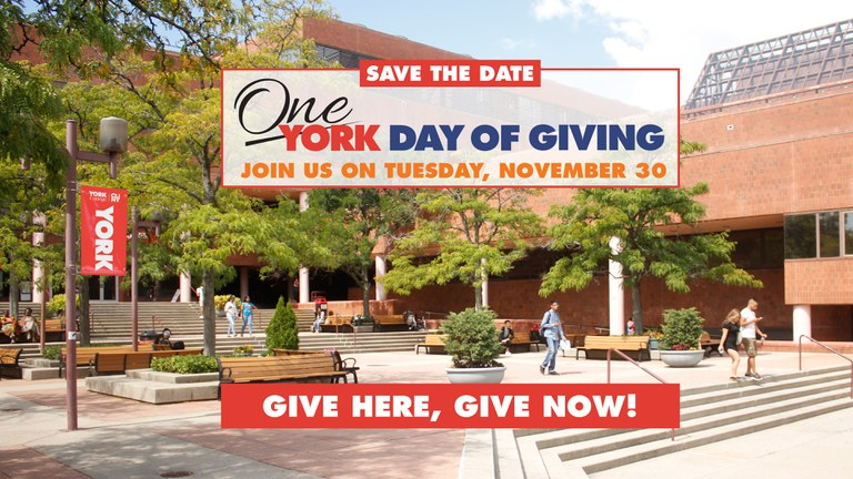 Save the date One York Day of Giving. Give Here, Give Now.