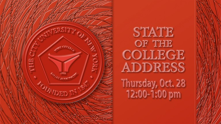 State of the College Address, Thursday, Oct. 28, 12:00-1:30 pm