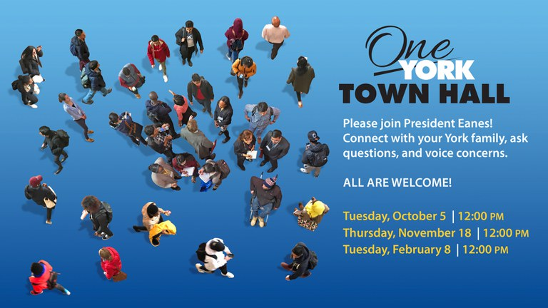 Please join President Eanes! Connect with your York family, ask questions, and voice concerns. Tuesday, Oct 5 at 12 pm