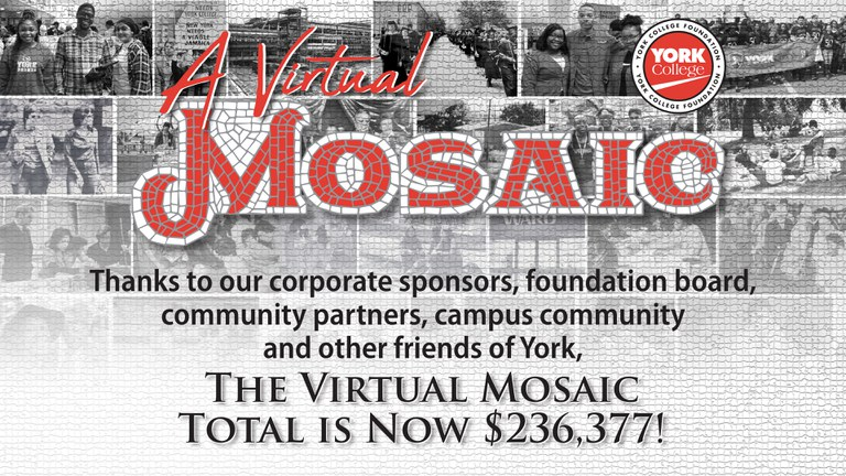 A Virtual Mosaic Thanks to our corporate sponsors, foundation board, community partners, campus community and other friends of York. Raised Over 220,000
