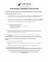 Non-Degree Admission Application
