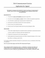 Commencement Exercise Appeal Application form