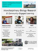 NSF Funded Summer Undergraduate Research Program in Biology at Duquesne University